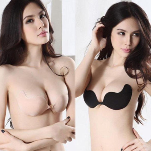 Women Sexy Push Up Bra Front Closure Self-Adhesive Silicone Seamless Strapless Invisible Bra For Wedding Party Swimming(China (Mainland))