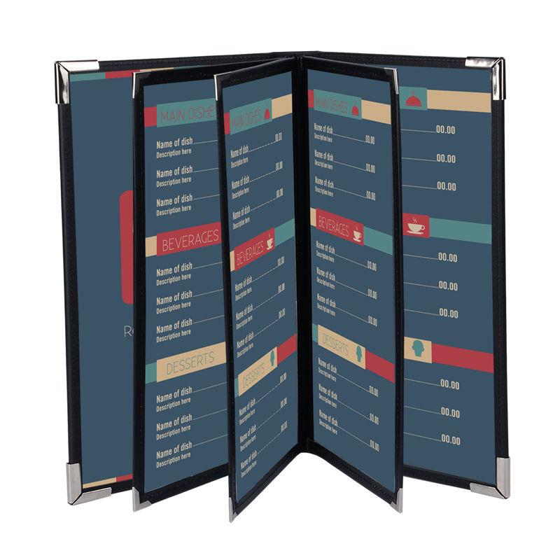 100pcs Wholesale Retail Restaurant Menu Covers Customized 3 Pages Menu Folder Black PU Leather Menu Holder(China (Mainland))