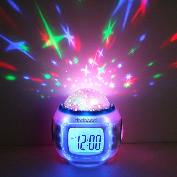 Desktop Table Clocks Despertador Music Starry Star Sky Projection Alarm Clock Calendar Thermometer For Best Gift Relogio De Mesa(China (Mainland))