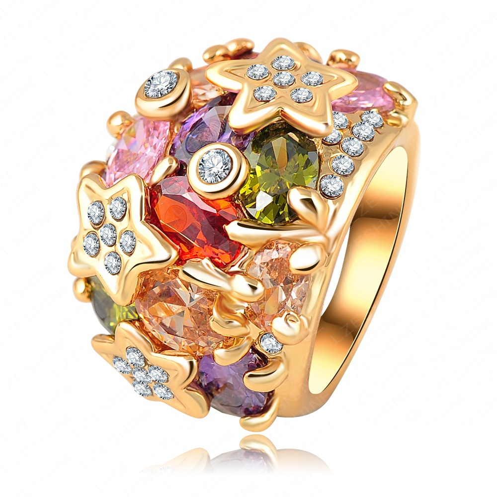 Fashion 18K Gold Plated Colorful Austrian Crystal SWA Element Exaggerated Rings For Women Ri-HQ0010(China (Mainland))