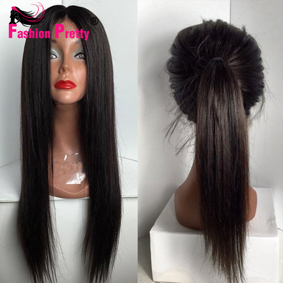 Фотография Long Straight Lace Front Human Hair Wigs 100% Virgin Brazilian Human Hair Glueless Full Lace Wig With Baby Hair For Black Women