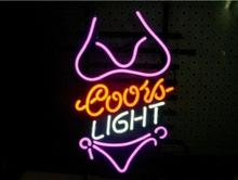 "Business Custom NEON SIGN board For Bikini Girl Purple Logo Beer Bar Pub Store Coors Light Tube Club Shop Light Signs 19*15""(China (Mainland))"