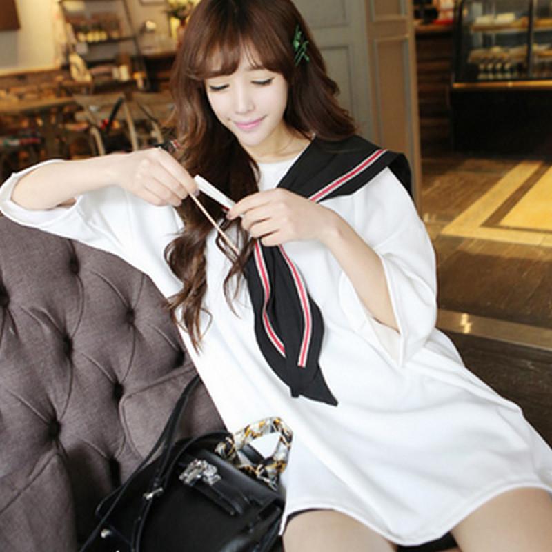 Japanese Korean Cute Sailor Shirt Long Tops For Girl Black White Jurk Loose Style Plus Size Cosplay Kawaii Harajuku Fashion Hot(China (Mainland))