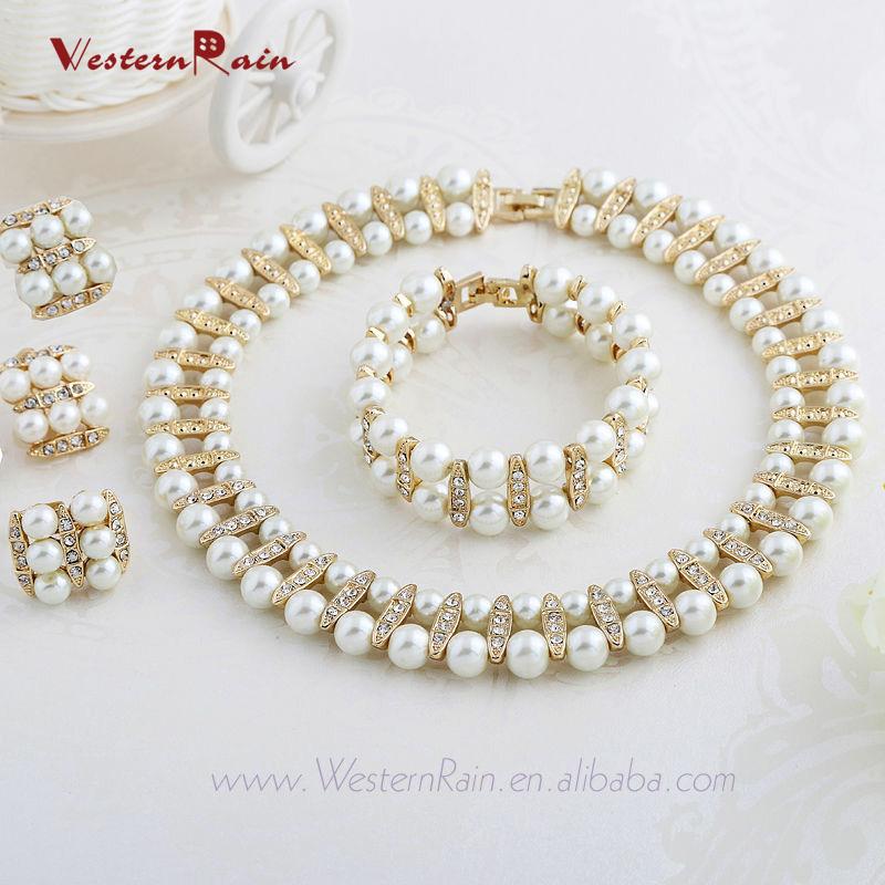 WesternRain 2015 Vintage Chunky Choker Pearl Necklace sets Ivory Wedding Jewe