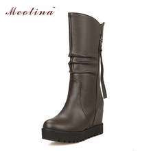 Mujeres nieve patea los zapatos de piel tacones de cuña plataforma de mitad de la pantorrilla botas tacones altos plisadas zapatos de invierno Big White tamaño 12 13 14(China (Mainland))
