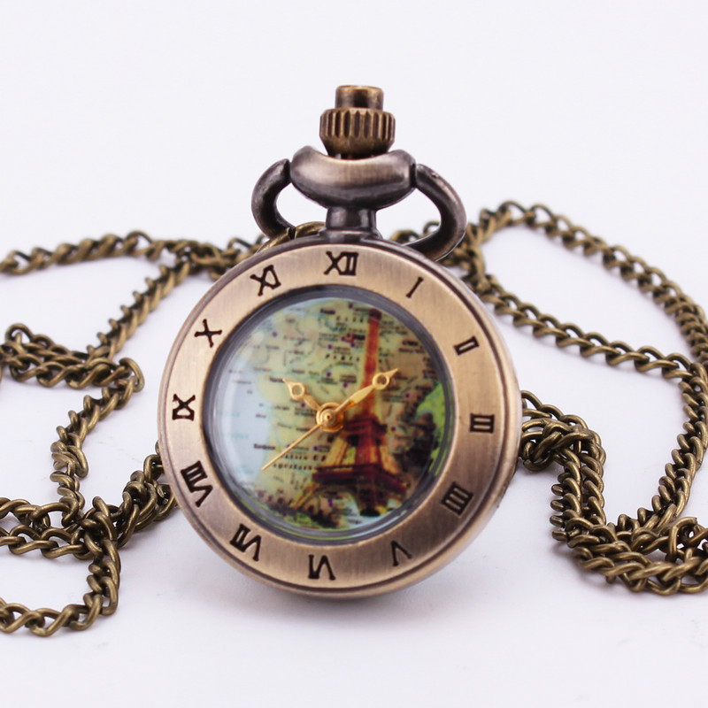 Vintage Retro Antique Bronze Glass Map Nautical Cover Mini Quartz Pocket Watch Pendant Long Sweater Chain Clock Box Gift TD017(China (Mainland))