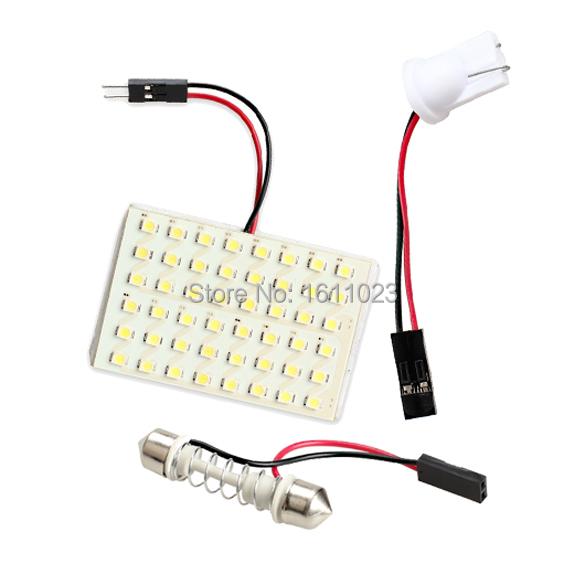 48 LED Auto Car Dome Festoon Interior Bulb Roof Light Lamp with T10 Adapter Festoon Base E2shopping(China (Mainland))