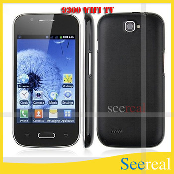 9300 WIfi TV Cell Phone 4inch Touch Screen Quad Band Dual SIM Card Camera Phone Free Shippng By Hongkong Post