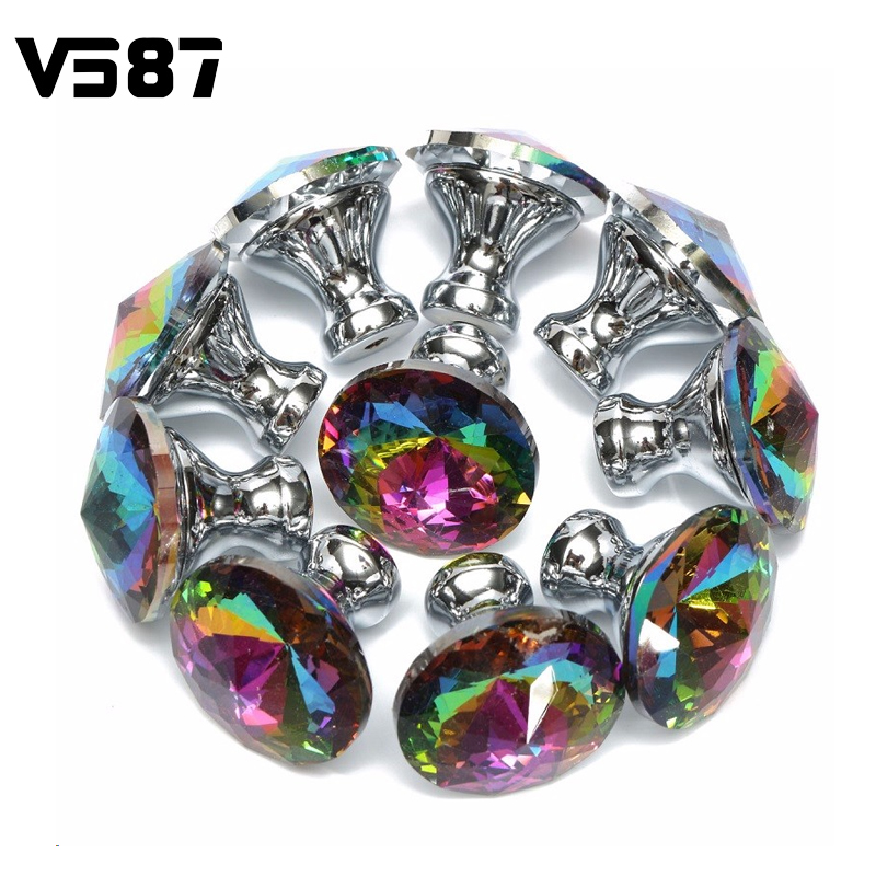 Furniture 28mm Crystal Shape Glass Alloy Cabinet Handle Pull Colorful Drawer 10pcs Door Knobs Cupboard Wardrobe Diamond(China (Mainland))