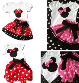 new arrival 2015 children clothing sets summer suits for girls 100%cotton t-shirt+skirt minnie set children's clothes