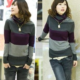 Female heap turtleneck loose medium-long stripe sweater basic shirt sweater