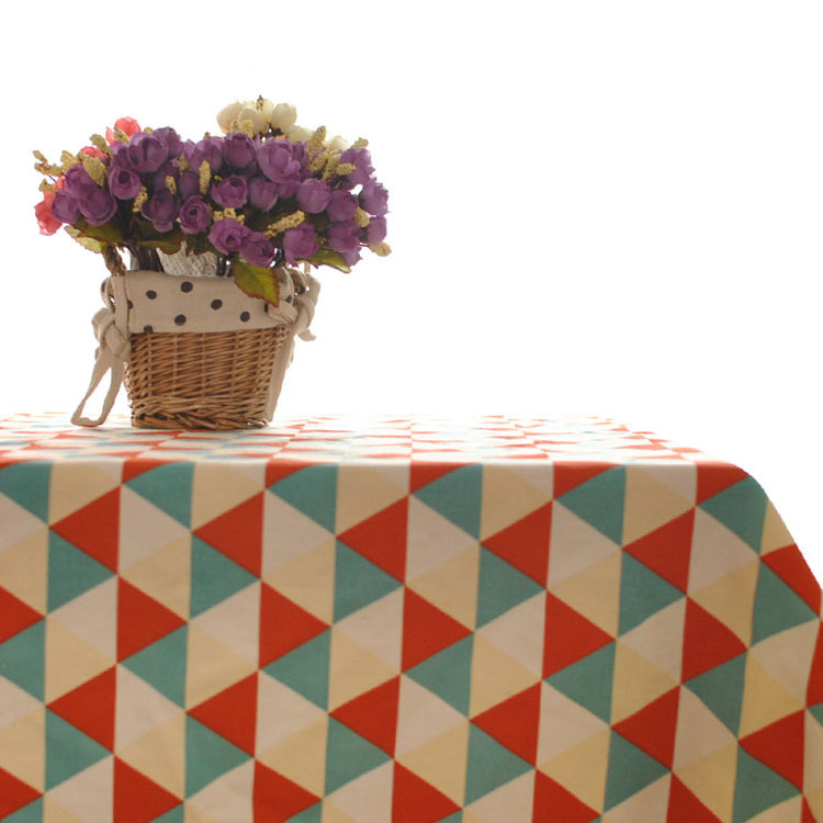 2015 new arrivel fresh linen tablecloth geometric patterns table flag tea table cloth cover for sale(China (Mainland))
