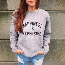 Happy is expensive New women's letters printed fleece grey