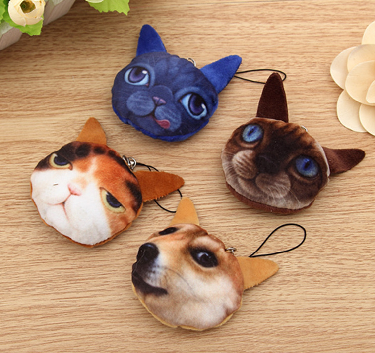 1X Design Random , Kawaii HOT NEW - 5CM Gift Cat Plush Stuffed Toy , 3D Plush Animal String Decor Key Chain Plush Toy(China (Mainland))