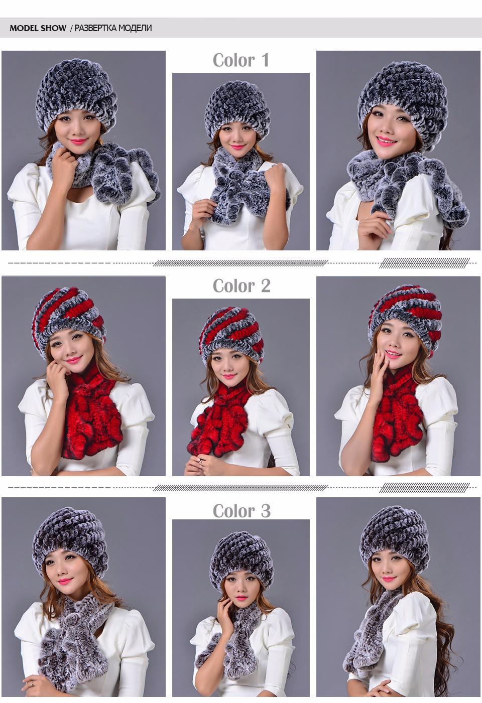 Rex Rabbit Fur Hat Scarf Set For Women Winter Warm Muffler Set Real Fur Cap Striped Elegant Flower Fashion Fur Hat Scarf