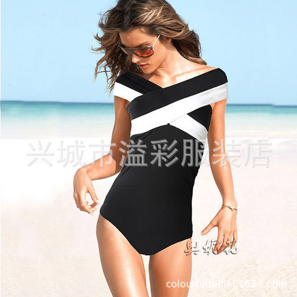 Woman Black And White One Piece Swimsuit 2015 Criss Cross ...