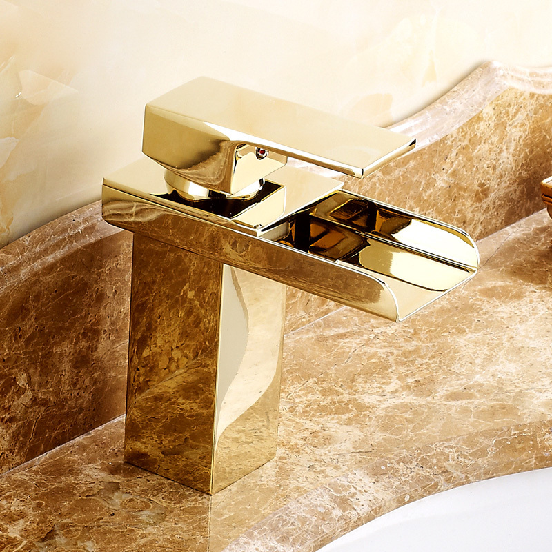 Solid Brass Gold Plated Bathroom Sink Faucet Waterfall Faucet Single Hole Gold Faucet torneira banheiro(China (Mainland))