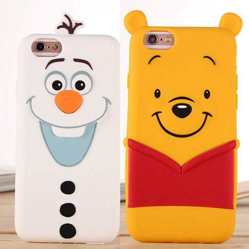 New Arrival Cute 3D Cartoon Olaf Winnie Pooh The Toy Silicon Funda Cover for iPhone 5 5S 6 6S/6 6S Plus Coque Capa Free Shipping(China (Mainland))