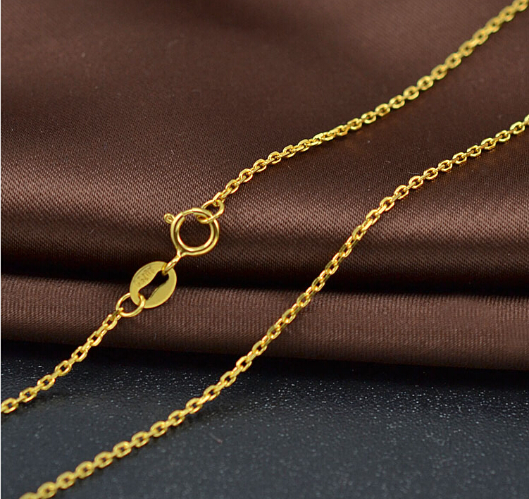 AU750 Authentic Solid 18K Yellow Gold Necklace chain 1.12g<br><br>Aliexpress