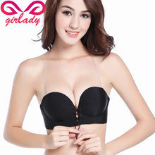 Buy GIRLADY Super Push Women Bra Black Skin Front Gather Wire Free Sexy Triangle Ladies Bra Thick Quarter Cup Lingerie 2 Stripes