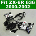 Hot sale Fit for Kawasaki ZX6R fairing kit 2000 2001 2002 white black WEST ZX 6R