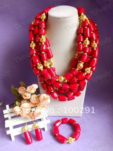 New Design Six Strand Luxury African Wedding Necklace bracelet and earring Coral necklace //Gary(China (Mainland))