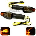 Universal Motorcycle black housing smoking Lens Amber LED turn signal Lights 12V Indicators Flashers For bobber