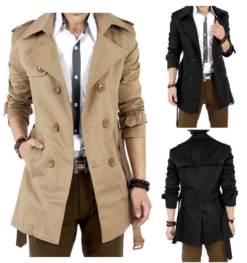 Траншеи Пальто Мужчины Классические мужские Двойной Брестед Тренч Пальто Masculino Мужская Одежда Длинные Куртки и Пальто Британский Стиль Пальто