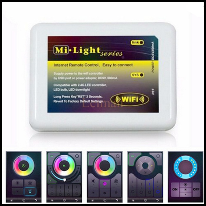 Mi light Wifi touch Remote Controller 2.4G Wireless APP iOS Android RF for RGB RGBW Led RGB controller for LED strip light(China (Mainland))