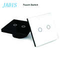 EU Standard JADIS Touch Switch 2 Gang 1 Way Glass Panel Touch Screen Switch Wall Light