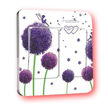 Freeshipping 2015 new hot Purple Dandelion cartoon switch stickers / wall stickers creative Furnishings warm family