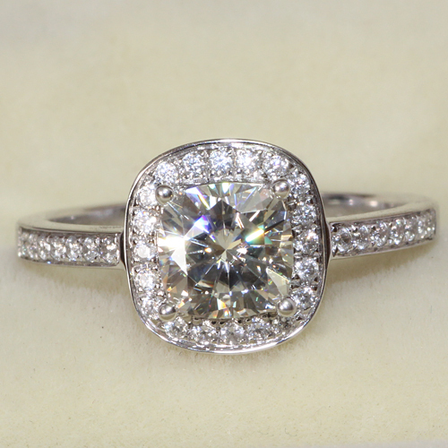 1 1 Carat Cushion Cut Engagement Wedding Lab Grown Moissanite Diamond Ring 14