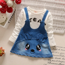 Buy 2016 new spring autumn Girls Kids Cowboy Cartoon cotton denim strap dress comfortable cute baby Clothes Children Clothing 0-3 for $8.90 in AliExpress store