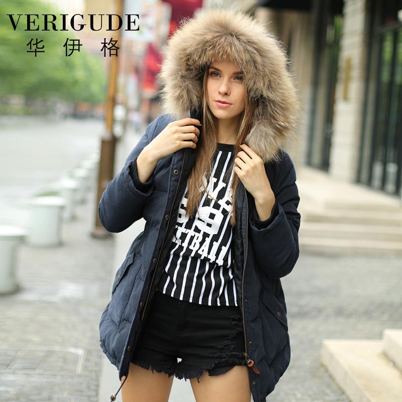 Veri Gude Winter 2014 New Women's Raccoon Fur Hooded European Fashion Warm Parkas