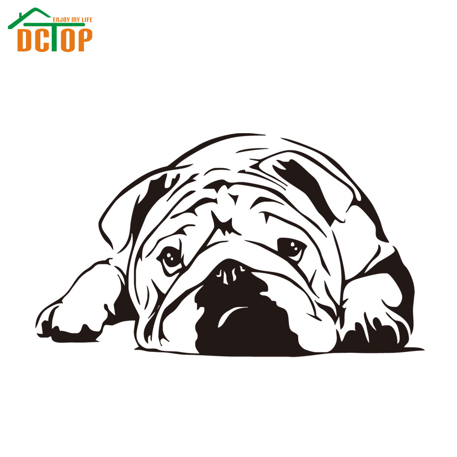 Dog Vinyl Art Wall Decals Living Room Home Decor Lazy Bulldog Wall Sticker Nursery Hot Sale(China (Mainland))