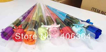 Free shipping, Magic rose soap flower,wedding soap ,valentine's day novelty gift ,with bow,good packaging