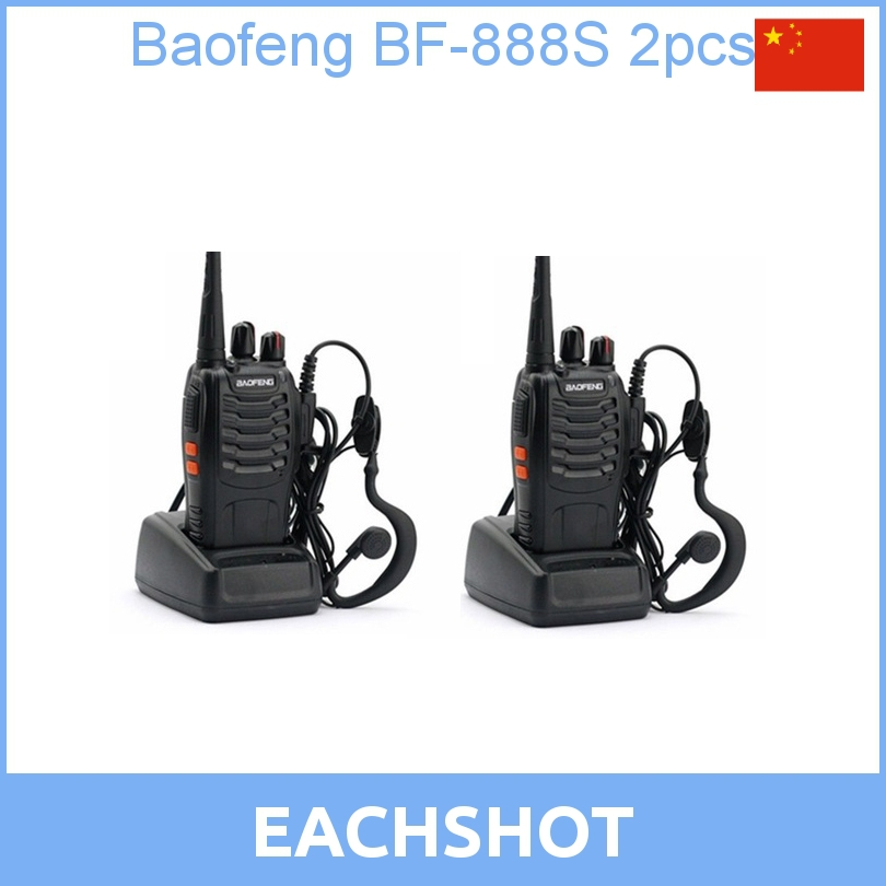 2 pcs 2016 new free shipping Cheap Walkie Talkie BF-888s 5W 16CH UHF 400-470MHz BF-888S Interphone BaoFeng 888S Two-Way Radio