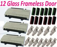 12 Frameless Glass Door Lock 12 Door Access Controller Web IP Network Panel+12pc RFID Card Readers+12pcs Bolt Lock+1 software
