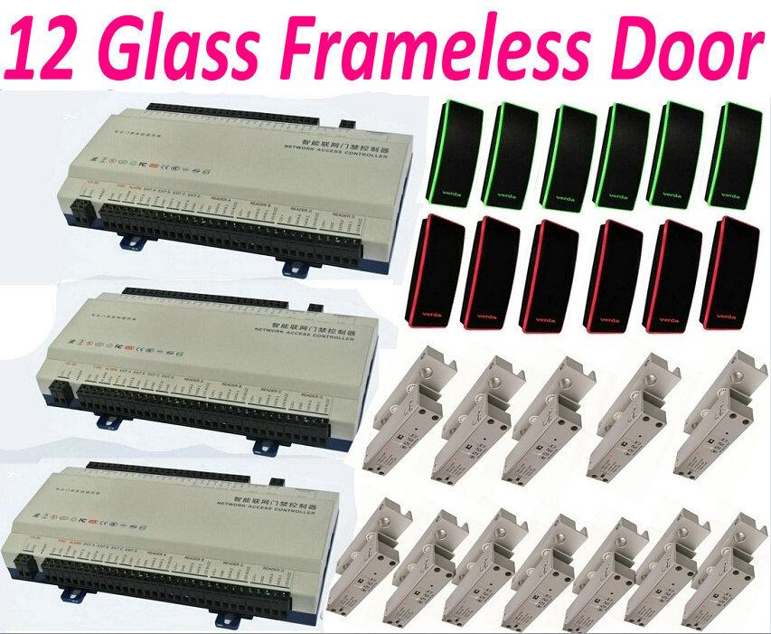 12 Frameless Glass Door Lock 12 Door Access Controller Web IP Network Panel+12pc RFID Card Readers+12pcs Bolt Lock+1 software(China (Mainland))