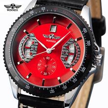 Luxury Brand Fashion Winner  Men's Mechanical Wristwatch Leather Strap Male Sports Watches Clocks relogio masculino