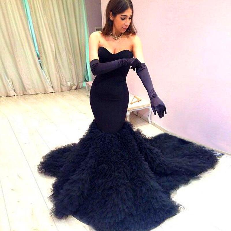 2015 Amazing Fashion Prom Dresses Black Mermaid Long Evening Ruffles Arabic Tulle Vestidos Party RG145 - bridal_gown-2 store
