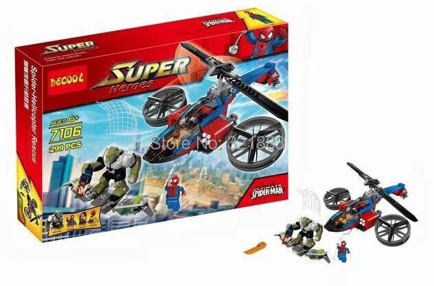 Baby Toys Decool 7106 Building Blocks Super Heroes spiderman big green goblin Minifigures Bricks action - F & C Store store