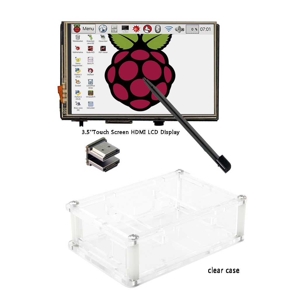 "3.5"" LCD HDMI USB Touch Screen 320x480 to 1920x1080 LCD Display Audio with clear case for Raspberry Pi 3 Pi 2(Play Game Video)(China (Mainland))"