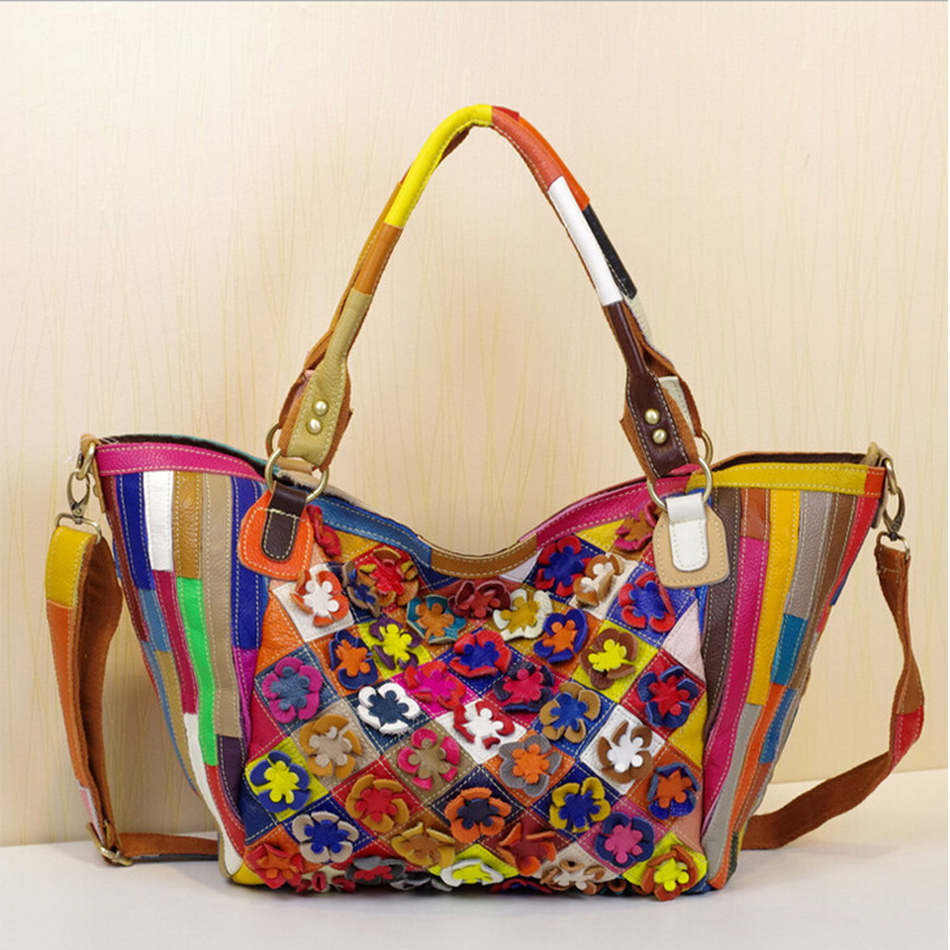 Luxury Handbags Hobos Women Genuine Cow Leather Bags Colorful Panelled Flowers Decoration Messenger Bags Fashion Ladies Hangbag(China (Mainland))