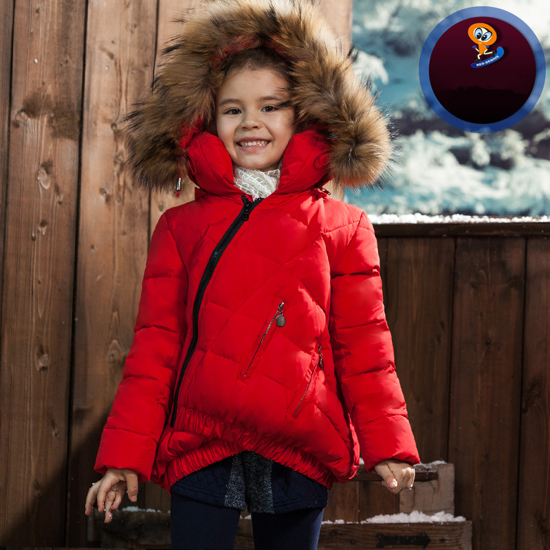 2015 Brand Casual Children Parka Girls Winter Coat Long Duck Thick Faux Fur Hooded Jacket girls winter coat