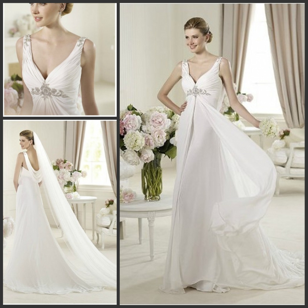 2015 floor length chiffon and satin elegant wedding for Wedding dresses with dramatic backs