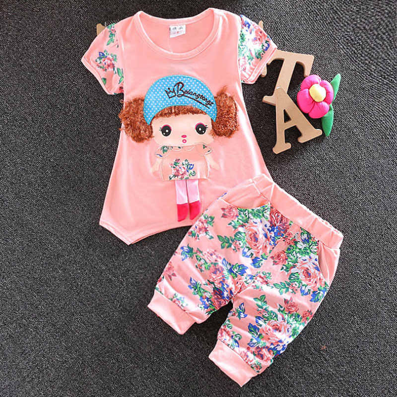 Summer baby girls clothing short sleeve suit 2016 Korean infant baby girl child clothes casual sports print t shirt + pants sets(China (Mainland))