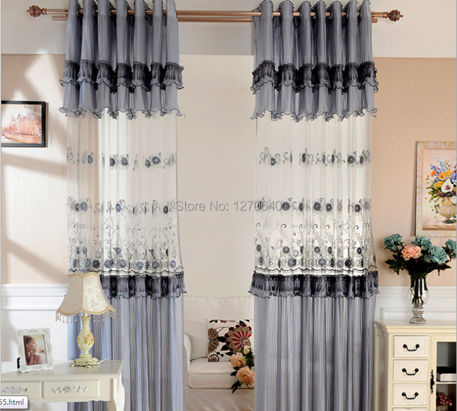 Korean Style Gray Window Dressing Ideas Embroidery