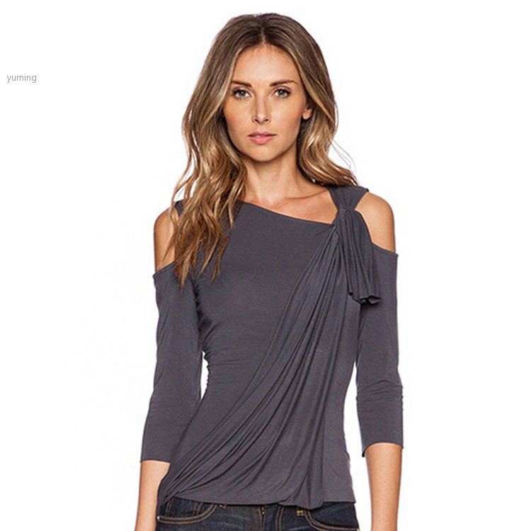 Ladies women autumn t shirt fashion 3 4 sleeve cut out off for 3 4 sleeve t shirts plus size