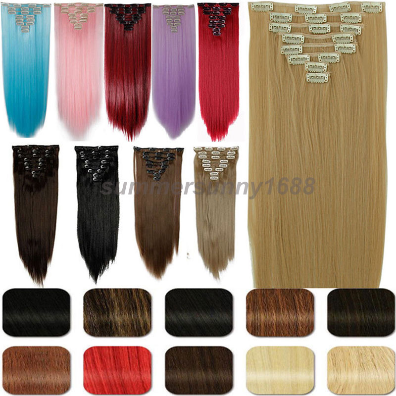 8pcs/Set Long Straight Full Head Clip in Hair Extensions Blonde Pink Blue Red Purple Grey Hair Pieces UK US LOCAL SHIP(China (Mainland))